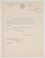 Order from the Bureau of Navigation denying Richard H. Leigh's request to be assigned duty at the New York Nautical School