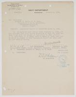 Order from the Navy Department regarding the filing of Richard H. Leigh's inspection report of the Galveston