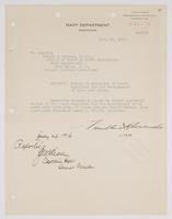 Order from the Navy Department appointing Richard H. Leigh member of the board developing a navy yard plan