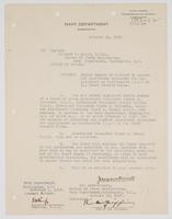 Order from the Navy Department appointing Richard H. Leigh Senior Member of a board to select 100 electrical engineers for appointment as lieutenants