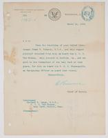Order from the Bureau of Navigation detaching Richard H. Leigh from duty on board the U.S.S. Des Moines