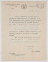 Order from the Bureau of Navigation instructing Richard H. Leigh to report to Rear Admiral Thomas Perry