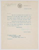 Order from the Bureau of Navigation detaching Richard H. Leigh from duty on board the U.S.S. Minneapolis when placed out of commission