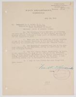 Order from the Navy Department regarding the U.S.S. Galveston