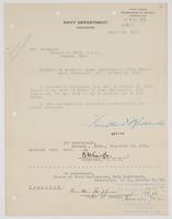 Order from the Navy Department for Richard H. Leigh to report to the Chief of Bureau of Steam Engineering