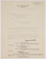 Order from the Navy Department for Richard H. Leigh to report to the Bureau of Steam Engineering as Assistant