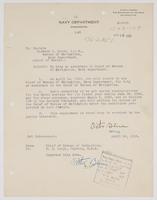 Order from the Navy Department assigning Richard H. Leigh to duty as Assistant Chief of Bureau of Navigation
