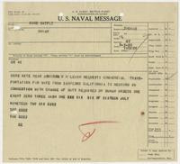 U.S. Naval Message from Richard H. Leigh to BuNav, requesting commercial transportation for his wife
