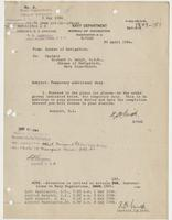 Order from the Navy Department assigning Richard H. Leigh temporary additional duty in Newport, R.I.