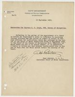 Memorandum for Captain R. H. Leigh, USN, Bureau of Navigation