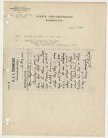 Order from the Navy Department recognizing R. H. Leigh's Gunnery Excellence, with attached handwritten note
