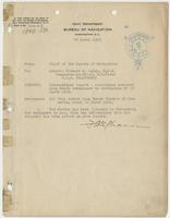 Order from the Navy Department informing Richard H. Leigh of a commendatory report on earthquake