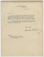 Executive order from the White House appointing Richard H. Leigh Commander-in-Chief of the United States Fleet