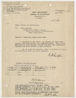 Order from the Navy Department assigning Richard H. Leigh temporary additional duty in Lakehurst, N.J.