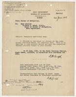 Order from the Navy Department assigning Richard H. Leigh temporary additional duty in Illinois