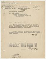 Order from the Navy Department assigning Richard H. Leigh temporary additional duty in Virginia