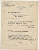 Order from the Navy Department assigning Richard H. Leigh temporary additional duty in Pensacola, FL
