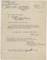 Order from the Navy Department assigning Richard H. Leigh temporary additional duty in Newport, R. I.
