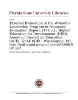 External Evaluation of the Women's Leadership Program in Paraguay: Evaluation Report. [174 p.]