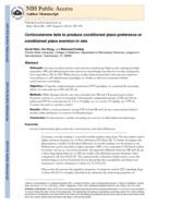 Corticosterone fails to produce conditioned place preference or conditioned place aversion in rats.