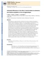 Individual differences in the effect of social defeat on anhedonia and histone acetylation in the rat hippocampus.