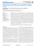 Microglia from neurogenic and non-neurogenic regions display differential proliferative potential and neuroblast support.