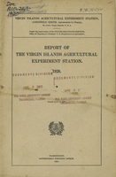 Report of the Virgin Islands Agricultural Experiment Station 1920