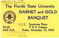 Garnet & Gold Banquet ticket (November 13, 1959)