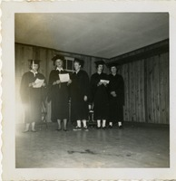 Five F Club Members in Caps and Gowns