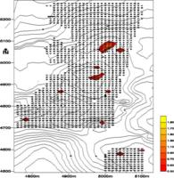 Contour Map Showing Distribution of Lithic Material
