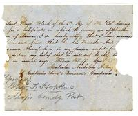 Document citing medical absence for Lieutenant Hugh Black