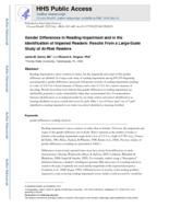 Gender Differences in Reading Impairment and in the Identification of Impaired Readers