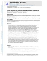Factor structure and utility of the Behavior Rating Inventory of Executive Function-Preschool Version.