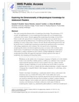 Exploring the Dimensionality of Morphological Knowledge for Adolescent Readers.