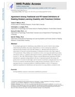 Agreement Among Traditional and RTI-based Definitions of Reading-Related Learning Disability with Preschool Children.
