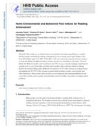 Home Environmental and Behavioral Risk Indices for Reading Achievement.