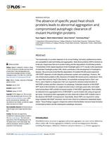 Absence Of Specific Yeast Heat-shock Proteins Leads To Abnormal Aggregation And Compromised Autophagic Clearance Of Mutant Huntingtin Proteins