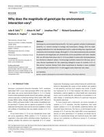 Why Does The Magnitude Of Genotype-by-environment Interaction Vary?
