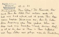 Congratulatory letter from Professor Dr. Max Planck to Paul Dirac on receiving the Nobel Prize