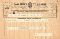 Congratulatory telegram from Niels Bohr to Paul Dirac on receiving the Nobel Prize in Physics