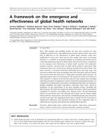framework on the emergence and effectiveness of global health networks.