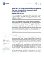 Allosteric activation of SENP1 by SUMO1 β-grasp domain involves a dock-and-coalesce mechanism.