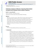 Preliminary Analysis of Difficulty of Importing Pattern-Based Concepts into the National Cancer Institute Thesaurus.