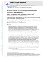Assessing methods for generalizing experimental impact estimates to target populations.