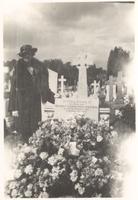 Bristol. Florence Dirac at grave of son Felix