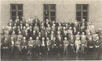Copenhagen. Formal portrait of Paul Dirac and attendees at Commemorative Meeting for Neils Bohr