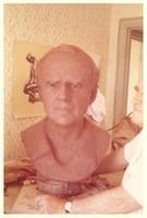 Clay model of a bust of Paul Dirac in K. Harald Isenstein's studio in Cambridge
