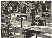 Coral Gables, Florida. Paul Dirac receiving applause in a lecture hall