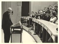 Coral Gables, Florida. Paul Dirac standing and giving a lecture