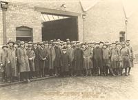 Bristol. Bristol University Engineering Society. Group portrait on a cold day. Paul Dirac in front row, center
